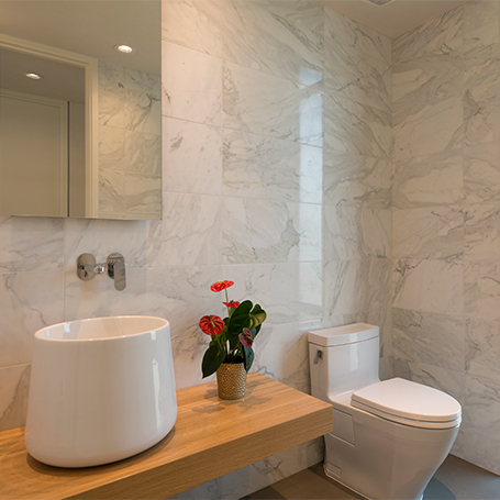 Marble powder room modern Dick Clark + Associates